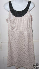 NWT ABS ESSENTIALS $328 Cocktail Dress Beige Animal Print W/Black Jewel Trim