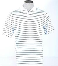 Nike Golf Dri Fit White Blue & Brown Stripe Short Sleeve Polo Shirt Mens NWT