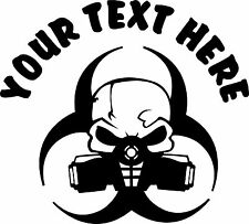 Gas Mask Bio Hazard Zombie Your Text Decal Sticker 4 Laptop Car Window Console