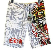 Bnwt Authentique Hommes Ed Hardy Board Swim Shorts de Surf Combustion Tigre Neuf Blanc