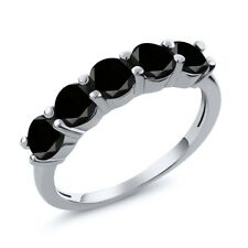 0.85 Ct Round Black AAA Diamond 925 Sterling Silver Wedding Band Ring