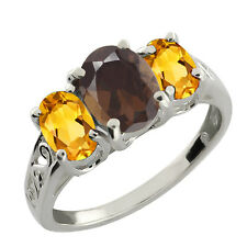 2.00 Ct Oval Brown Smoky Quartz and Yellow Citrine 925 Sterling Silver Ring