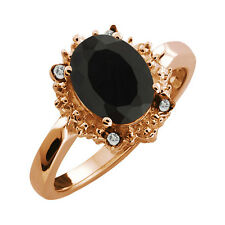 2.62 Ct Oval Black Onyx and Topaz Rose Gold Plated 925 Silver Ring