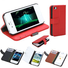 Flip Wallet Card Holder Leather Case Cover Stand for iPhone 4 4S Color Optional