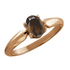 0.75 Ct Oval Brown Smoky Quartz Rose Gold Plated 925 Silver Ring