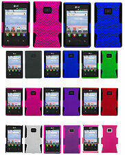 1 Mesh Hybrid Hard+Inner Silicone Case For LG Optimus Dynamic L38c/L38g Phone