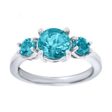 2.35 Ct 3-Stone Blue Topaz 925 Sterling Silver Ring