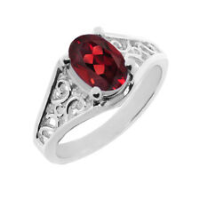 1.50 CT 8x6 Oval Cut Red Garnet White Gold Ring