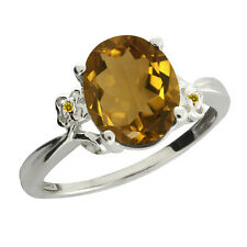 2.32 Ct Oval Whiskey Quartz and Yellow Simulated Citrine 925 Silver Ring