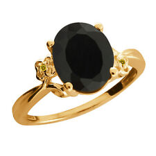 2.23 Ct Oval Black Onyx and Yellow Simulated Citrine Gold Plated 925 Silver Ring