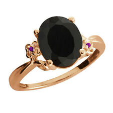 2.22 Ct Oval Black Onyx Amethyst Rose Gold Plated 925 Silver Ring