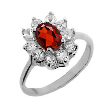 1.30 Ct Oval Garnet White Topaz 925 Silver Ring