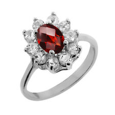 1.20 Ct Oval Checkerboard Garnet White Topaz 925 Silver Ring