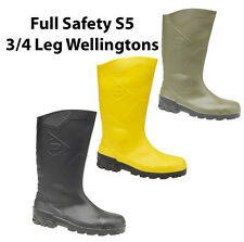 New Mens Dunlop Devon 3/4 Full Safety S5 Rubber Wellingtons Boots Size 3-13 UK