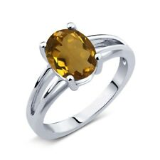 2.30 Ct Whiskey Oval Quartz and 925 Silver Solitaire Ring