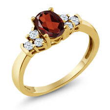 0.79 Ct Oval Red Garnet White Topaz 925 Yellow Gold Plated Silver Ring