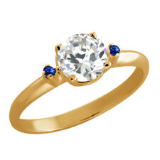1.52 Ct Round Cubic Zirconia Sapphire Gold Plated 925 Silver Ring