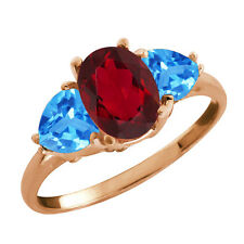 2.76 Ct Oval Ruby Mystic Topaz and Topaz Gold Plated 925 Silver Ring