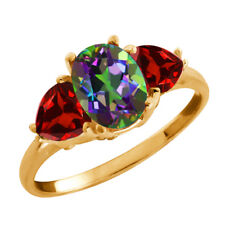 2.68 Ct Oval Mystic Topaz and Garnet Gold Plated 925 Silver Ring