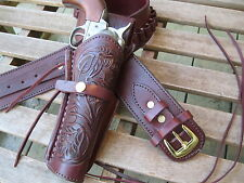 Cartridge Gun Belt with Tooled Holster Combo - .45 Cal - Wine- Leather- 32 to 52