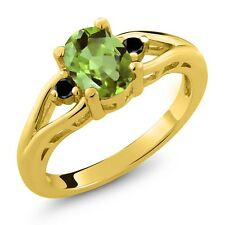 1.21 Ct Oval Peridot and Diamond Gold Plated 925 Silver Ring