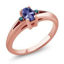 0.49 Ct Blue Oval Tanzanite and Blue Diamond Rose Gold Plated Silver Ring