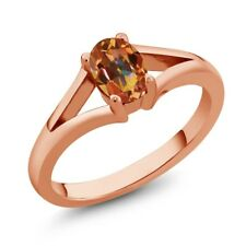 0.95 Ct Oval Ecstasy Mystic Topaz Rose Gold Plated Silver Ring