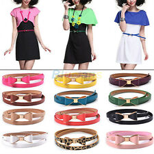 Fashion Candy Color Big Bowknot Faux Leather Thin Skinny Waistband Belt