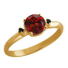 1.02 Ct Round Red Garnet Black Diamond Yellow Gold Plated Sterling Silver Ring