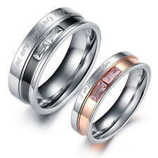 R009 Crystal Titanium Steel Promise Ring Lovers Couple Wedding Party Lover gift