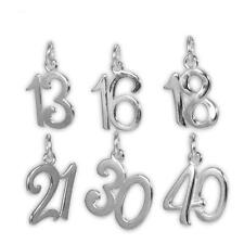 TheCharmWorks Sterling Silver Birthday Number Charms 13th - 50th