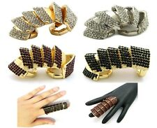 NEW CELEBRITY STYLE ICED OUT ARMOUR FULL FINGER STRETCH BASE FASHION RING HR1073
