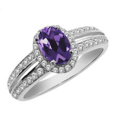 1.35 Ct Oval Natural Purple Amethyst 925 Sterling Silver Ring