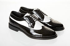 MENS NEW PATENT BLACK AND WHITE SPATS GANGSTER 1920's GATSBY WEDDING PROM SHOES