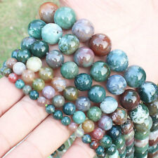 4,6,8,10,12,14mm Natural Indian Agate Round Loose Beads 15""