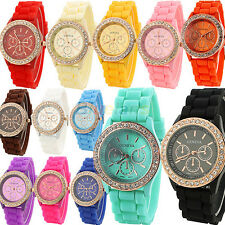 Women Ladies Girls Golden Geneva Crystal Stone Jelly Silicone Quartz Wrist Watch