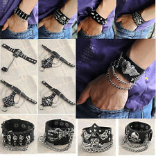 EMO Punk Men Skull Bone Chain Black Leather Bracelet Link Ring Cuff Wristband