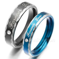 """""""Forever Love"""" Stainless Steel Bands Ring Lovers Couple Valentine Promise VE590"""