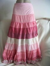 NWT By deep color block pink pattern Tier sequins long Skirt women size S