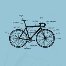 FIXED GEAR BIKE ANATOMY SHIRT Mens & Fitted Womens Sizes - FIXIE Biking Bicycle