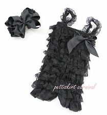 Newborn Baby Girls Black Lace Petti Posh Rompers Straps Huge Bow Headband 2pc