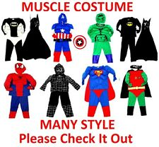 NEW Sz 2~12 MUSCLE COSTUME KIDS BOYS FANCY PARTY DRESS UP SUPERHERO TOP MASK TOY