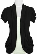 ANNABELLE Juniors Draped Black Cardigan with Cream Cami Front NWT