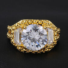 Jenny G Size 9,10,11 Men's White Sapphire 18K Yellow Gold Filled Ring 18K Stamp