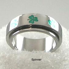 Silver Shamrock Ring Irish Celtic Clover Spinner Stainless Steel Size 5 10 11 12