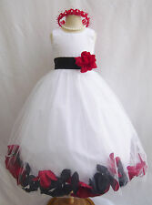 White with black combination bridal party birthday rose petal flower girl dress