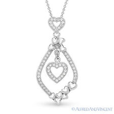 Heart Charm Micro-Pave CZ Crystal Pendant & Chain Necklace 925 Sterling Silver