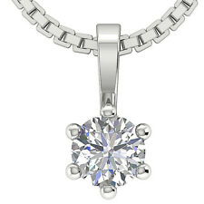 Vintage Round Diamond Jewelry 0.25Ctw 14Kt White Gold Solitaire Pendant Necklace