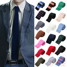 "Men's Formal Classic Knit Knitted Neck Tie Woven Slim Square 2.5"" - Many Colors!"