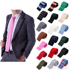 "Men's Formal Classic Knit Knitted Neck Tie Woven Slim Square 2.5"" Casual Attire"